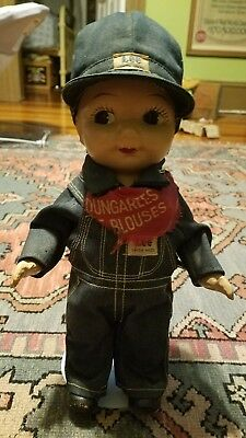 "1920's Composite Buddy Lee Doll in Overalls, 12.5"" tall, Vintage, Collectible"