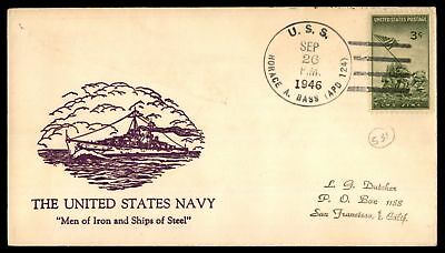 Mayfairstamps USS HORACE A BASS APD 124 SEP 26 1946 US NAVY PURPLE CACHET ON COV