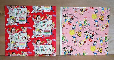 1964 lot  2 LOONEY TUNES wrapping paper sheets DISNEY Happy Birthday DONALD DUCK