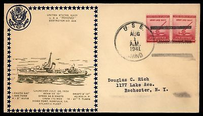 Mayfairstamps USS RHIND NO 404 LAUNCHED AUG 1 1941 ATLANTIC FLEET OLIVE CACHET O