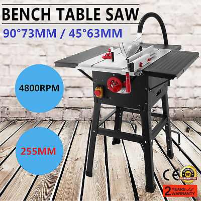 255mm Table Saw with 3 Extensions & Leg Stand 4800 rpm Bench Top 1600w BRAND NEW