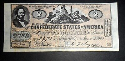 Usa Confederate Bank Note, Two Dollars