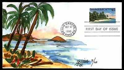Mayfairstamps BEACHES OF AMERICA US 45c ISSUE MELISSA FOX HAND PAINTED CACHET ON