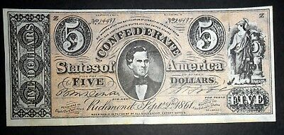 Usa Confederate Bank Note, Five Dollars