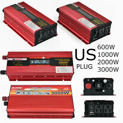 US Plug 2000W 3000W Peak Car LED Power Inverter DC 12/24V To 110V USB Converter