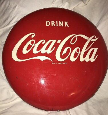 "Vintage Used 1950's Coca-Cola 16"" Round Button Sign Porcelain Over Metal"
