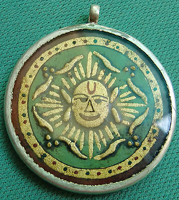 Big Rare Vintage Gold Embossed Sun Face Head Sterling Silver Necklace Pendant
