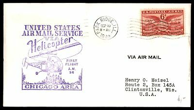Mayfairstamps PARK RIDGE IL FIRST HELICOPTER FLIGHT AM 96 SEP 19 1949 PURPLE CAC