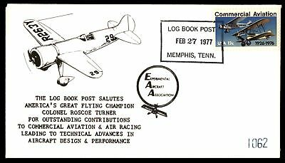 Mayfairstamps MEMPHIS TN FEB 27 1977 EAA COLONEL ROSCOE TURNER FLYING CHAMPION L