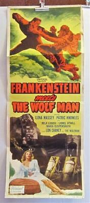 FRANKENSTEIN MEETS THE WOLFMAN Realart rr 14x36 Insert Poste LUGOSI  CHANEY JR