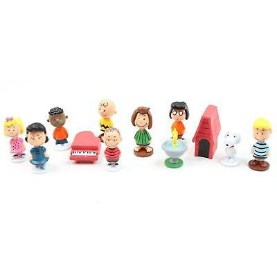 Peanuts Snoopy Figures Toys Set Woodstock Charlie Brown 12 Pcs 4cm - 5cm Approx