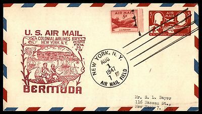 Mayfairstamps NEW YORK NY FIRST FLIGHT FAM 33 AUG 1 1947 AIR MAIL COVER TO BERMU