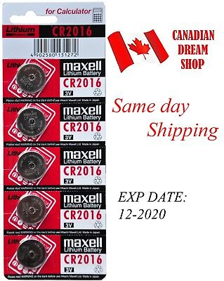 5 PC Fresh MAXELL CR2016 DL2016 3V lithium coin battery Genuine Expiry: 12-2020
