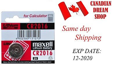 1 PC Fresh MAXELL CR2016 DL2016 3V lithium coin battery Genuine Expiry: 12-2020
