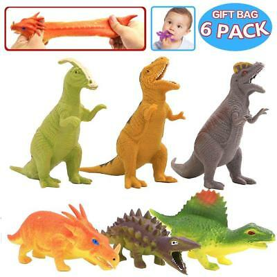 Dinosaur Toy,8 inch Rubber Set(6 Pack),Food Grade Material TPR Super...