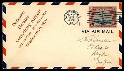 Mayfairstamps GREATER AIRPORT DEDICATION GETTYSBURG AIRPORT PA OCT 20 1929 CACHE