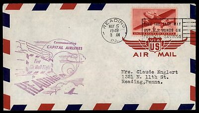 Mayfairstamps READING PA FIRST FLIGHT CAPITAL AIRLINES AM 34 MAY 5 1949 PURPLE C