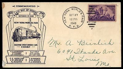 Mayfairstamps NEW YORK WORLDS FAIR RPO LAST DAY OF SERVICE OCT 27 1940 CACHET ON