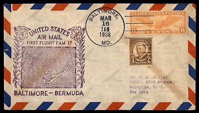 Mayfairstamps BALTIMORE MD FIRST FLIGHT FAM 17 MAR 16 1938 AIR MAIL COVER SC C19