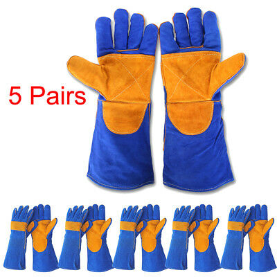 5Pairs Cushion Cowhide TIG MIG Welding Welders Gloves Forearm Protection 15.75in