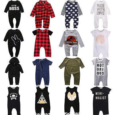 Toddler Baby Boy Girl Long Jumpsuit Romper Bodysuit Cotton Clothes Outfits