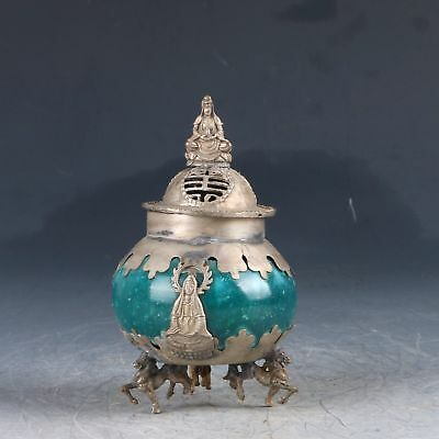 Chinese Silver Inlay Jade Hand Carved Buddha Incense Burner PJ502