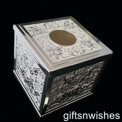 EXQUISITE Embossed Silver Plated Tissue Box Home Bathroom Office Decor