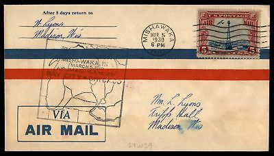 Mayfairstamps MISHAWAKA IN FIRST FLIGHT CAM 27 MAR 5 1930 AIR MAIL COVER SC C11
