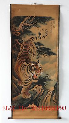 Old Collection Scroll Chinese Painting /Tiger's Roar  (虎啸山河)