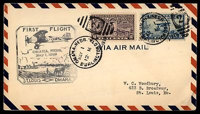 Mayfairstamps OMAHA NE FIRST FLIGHT MAY 1 1929 DUPLEX 2 CANCELS ON SPECIAL DELIV