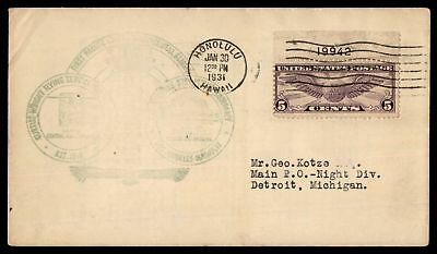 Mayfairstamps HONOLULU HI FIRST PACIFIC FLIGHT JAN 30 1931 AIR MAIL COVER PLATE