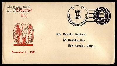 Mayfairstamps USS WISCONSIN BB 64 NOV 11 1947 ARMISTICE DAY RED CACHET ON COVER