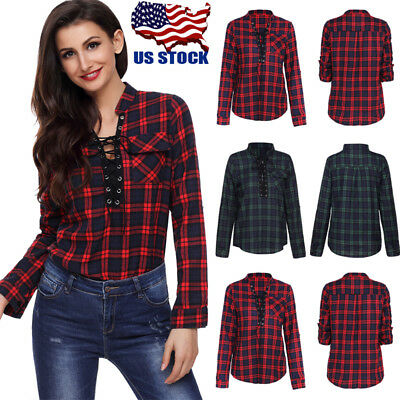USA Women's V Neck Lace Up Tops Check Plaid Loose Long Sleeve T Shirt Tee Blouse