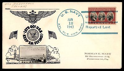 Mayfairstamps USS AMBERJACK SS 219 REPORTED LOST JUN 12 1943 BLUE SLOGAN CANCEL
