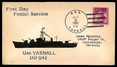 Mayfairstamps USS YARNALL DD 541 FIRST DAY POSTAL SERVICE APR 9 1951 4 BAR CANCE