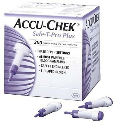 BRAND NEW SEALED Accu Chek Safe T Pro Plus Lancets 200 QTY - FREE POST
