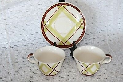 "Edwin Knowles - PLAID - V-2214 - Made in U.S.A. Coffee Cups (2) & 6 1/8"" Saucer"