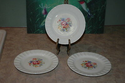 "Edwin M Knowles - Floral Design - Fluted Rim - 6 3/8"" Bread & Butter Plates (3)"