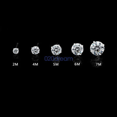 Genuine Solid 925 Sterling Silver CZ Ear Piercing Studs Earrings Stud Ladies