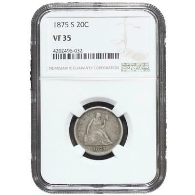 1875 S Seated Liberty 20 Cent Piece NGC VF35 **Rev Tye's Coin Stache** #6032206
