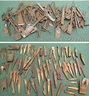 Large lot of cutters & wedges for wooden rebate planes, moulders, ploughs etc.