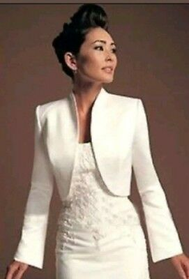 Long sleave White Satin Wedding Jacket Wedding Bridal Bolero Shrug