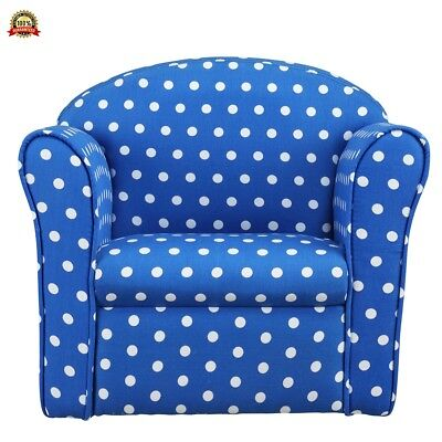 1home Kids Children's Navy with White Spots Fabric Tub Chair Armchair Sofa Seat