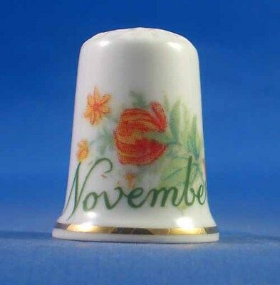 Birchcroft China Thimble -- Flower of  Month November with Free Dome Gift Box