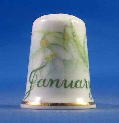 Birchcroft China Thimble -- Flower of the Month January with Free Dome Gift Box