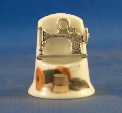 Birchcroft Thimble -- Model Front  -- Cameo Silver Sewing Machine