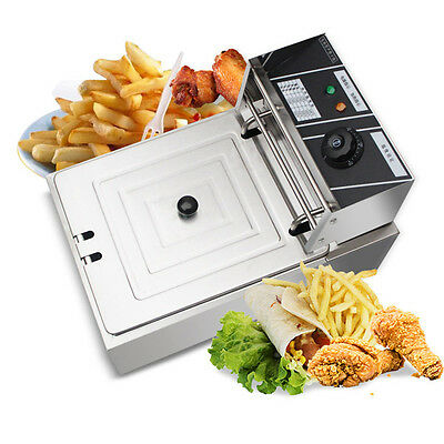 Commercial Restaurant Electric 10L Deep Fryer w/ Timer and Drain Stainless Pop