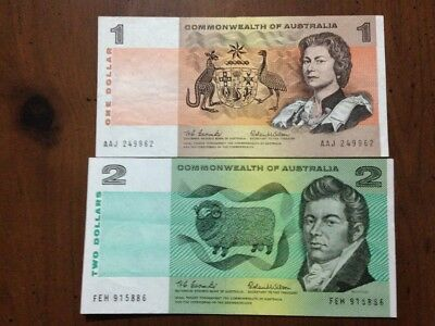 1966 Coombs/Wilson $1 + $2 Banknotes First Issue Decimal Banknotes VF+++