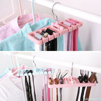 Hanger Storage Rack Hooks Tie Belt Scarves Handbag Closet Organizer Accessory