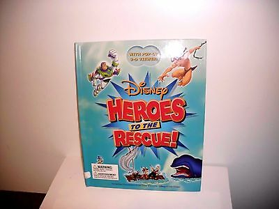 Disney HEROES TO THE RESCUE - Hardcover Book Disney Press Book with POP UP 3-D